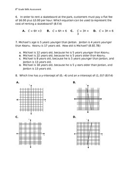 8th Grade Common Core Pre-Test for entire Year