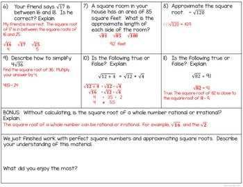 Square Root Assessment (8.NS.2)