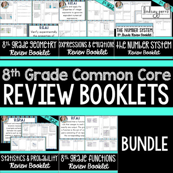8th Grade Common Core Review Booklet Bundle