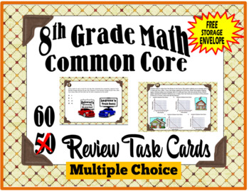 8th Grade Common Core Review Task  Cards + FREEBIE