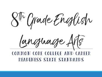8th Grade Common Core Standards Cards