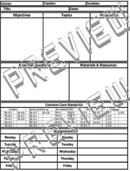 8th Grade Common Core Standards ELA Reading Lesson Plan Template (Includes 2)