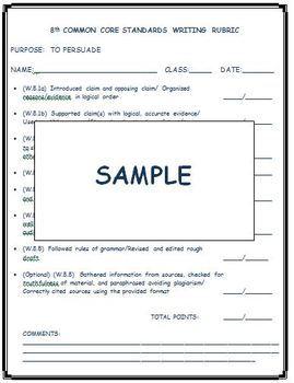8th Grade Common Core Standards Writing Rubrics
