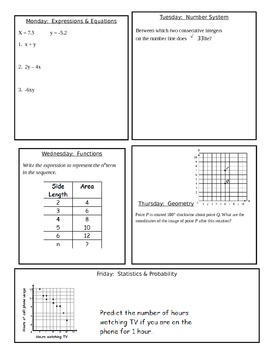 8th Grade Common Core Warm Ups 35 weeks