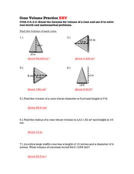 8th Grade Cone Volume Lesson: FOLDABLE & Homework