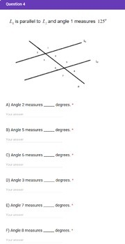 8th Grade Congruence and Angle Relationships Quick Check Google Forms Assessment