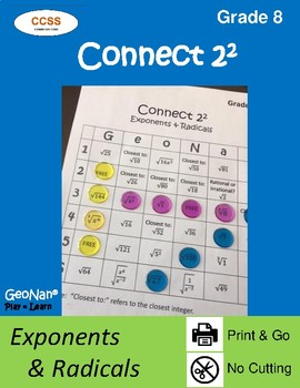 8th Grade Connect 2 Squared Exponents & Radicals Game