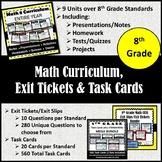 8th Grade Math Curriculum, Exit Tickets & Task Cards {Math 8 Curriculum}