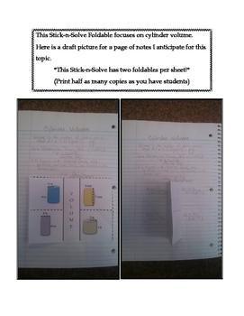 8th Grade Cylinder Volume Lesson: FOLDABLE & Homework