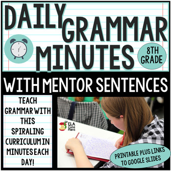 8th Grade Daily Grammar Minutes With Mentor Sentences