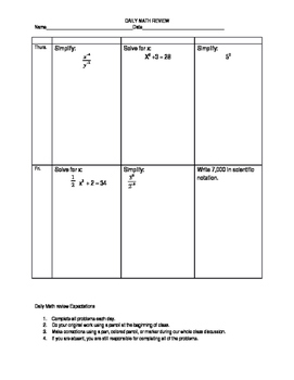 8th Grade Daily Math Review Free