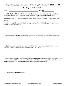 8th Grade ELA Assessment with Learning Goal 8.RL.1 and Scale - FREE