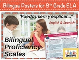 8th Grade ELA Bilingual Posters with Learning Goals and Scales