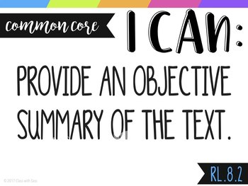 """8th Grade ELA CCSS """"I CAN"""" Objective Posters & Self-Assessment Trackers"""