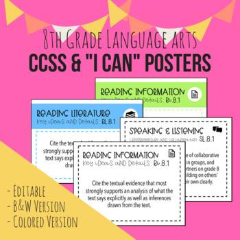 """8th Grade ELA CCSS + """"I Can"""" Posters (Editable)"""