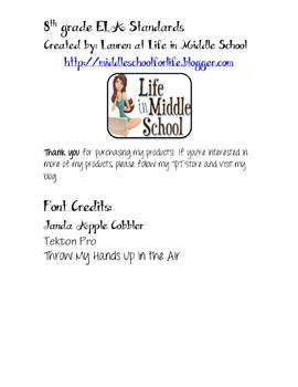 8th Grade ELA Common Core I Can Checklist