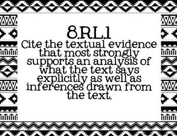 8th Grade ELA Common Core Posters- Black & White Tribal Print
