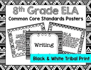 8th Grade ELA Common Core Posters- Black & White Tribal Print