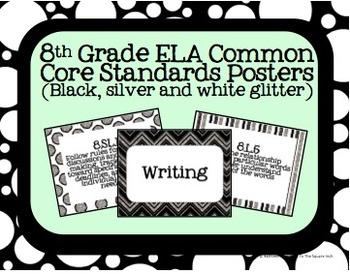 8th Grade ELA Common Core Posters- Black, White and Silver Glitter Print!