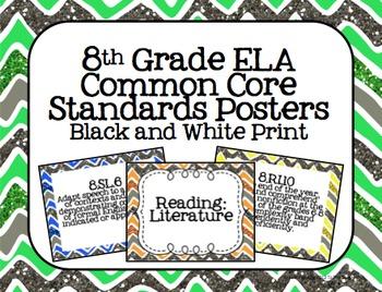 8th Grade ELA Common Core Posters- Glitter Chevron