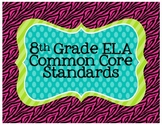 8th Grade ELA Common Core Posters- Zebra Print!