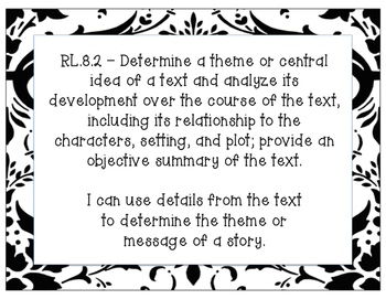 8th Grade ELA Common Core Standards and  I Can Statements