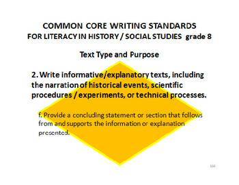 8th Grade ELA Common Core Standards for HISTORY / SOCIAL STUDIES
