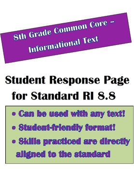 Common Core Informational Text: Student Response Page for RI 8.8 - 8th Grade