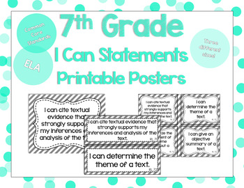 7th Grade ELA I Can Statements for CCSS Standards (Gray Stripes)