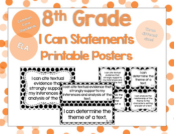 8th Grade ELA I Can Statements for CCSS Standards (Black Polka Dots)
