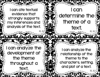 8th Grade ELA I Can Statements for CCSS Standards (Damask)