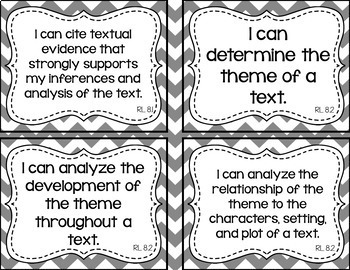 8th Grade ELA I Can Statements for CCSS Standards (Gray Chevron)