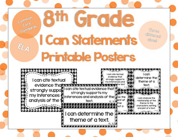 8th Grade ELA I Can Statements for CCSS Standards (Houndstooth)