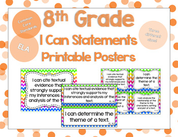8th Grade ELA I Can Statements for CCSS Standards (Rainbow