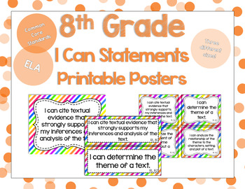 8th Grade ELA I Can Statements for CCSS Standards (Rainbow Stripes)