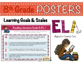 8th Grade ELA Posters with Learning Goals and Scales - Aligned to Common Core