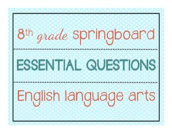 Springboard teaching resources teachers pay teachers 8th grade ela springboard essential questions posters 8th grade ela springboard essential questions posters fandeluxe Choice Image