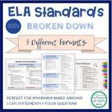 """8th Grade ELA Standards Breakdown with """"I Can"""" Statements and Focus Questions"""