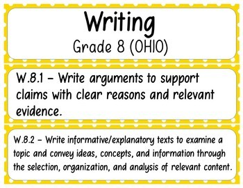 8th Grade ELA Standards (OHIO) Pocket Chart Printables