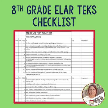8th Grade ELAR TEKS Checklist