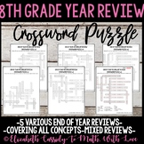 8th Grade YEAR END REVIEW Math Vocabulary Crossword Puzzle