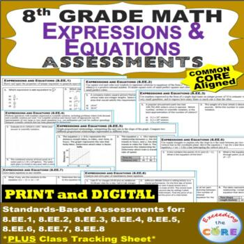 8th Grade EXPRESSIONS & EQUATIONS Assessments (8.EE) Common Core