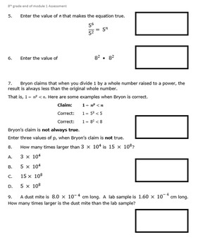 8th Grade End of Module 1 Assessment - SBAC - Editable