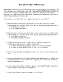 8th Grade End of Year Reflection Questions