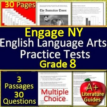 8th Grade Engage NY Test Prep Practice Tests for Reading ELA - Bundle