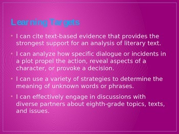 8th Grade English Common Core Learning Module #1, Unit #1
