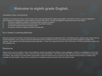 8th Grade English Common Core Learning Module #1, Unit #1