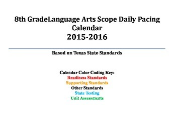 8th Grade English Language Arts Daily Pacing Guide