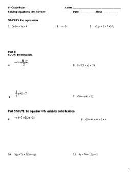 8th Grade: Equations - STUDY GUIDE