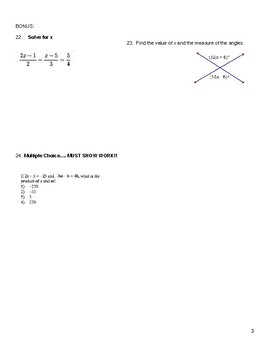 8th Grade: Equations - TEST